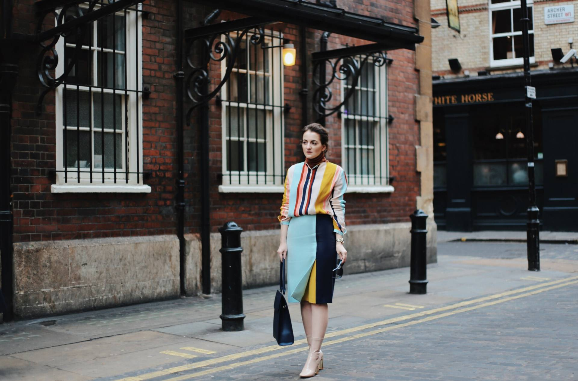 Graphic stripes in the 2nd day of London Fashion Week