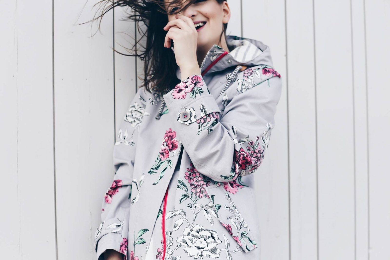 Dreaming of Chanel wears Joules SS16 floral rain coat in Watergate Bay, Cornwall