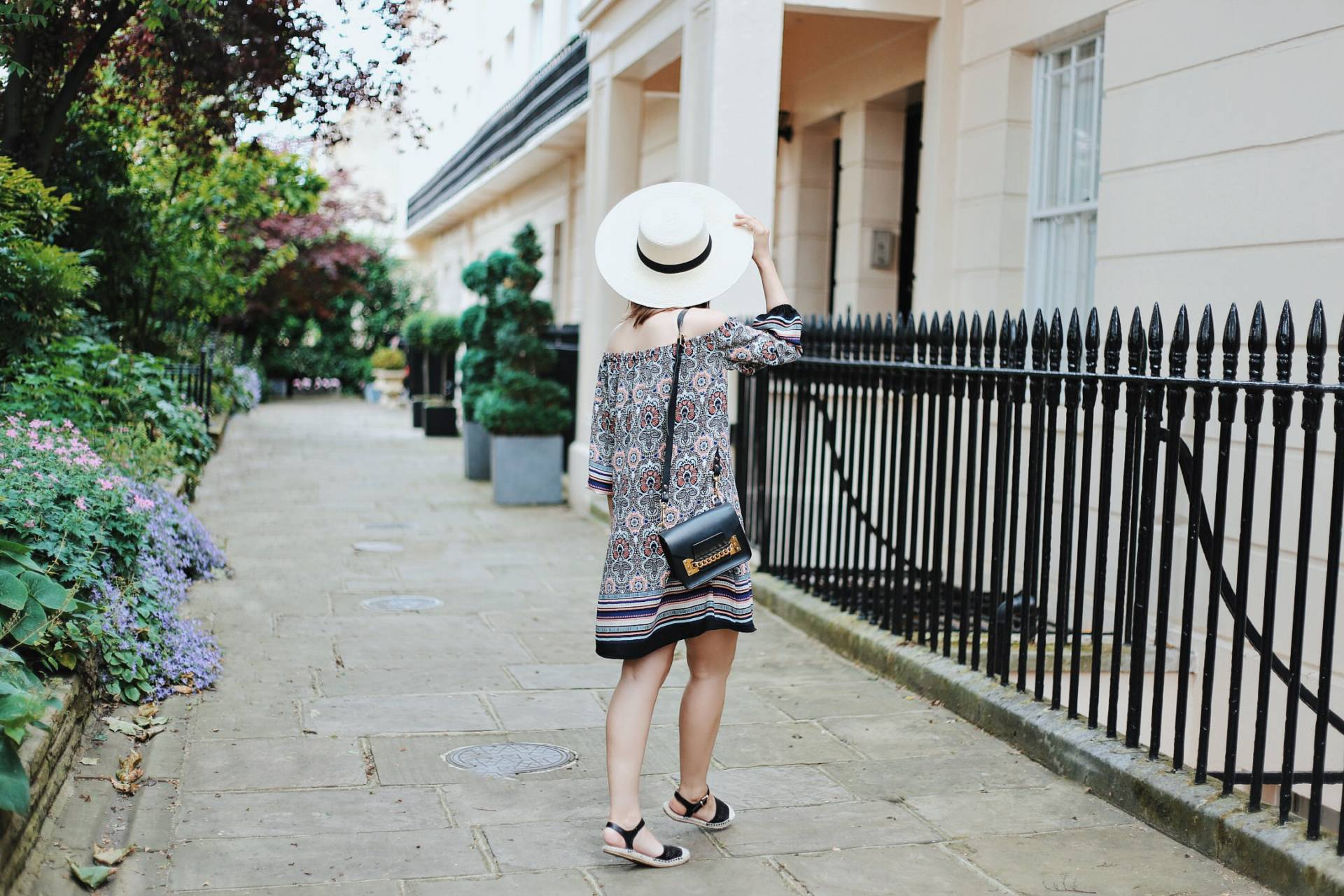 Dreaming of Chanel wears Little Mistress paisley print dress with espadrilles.