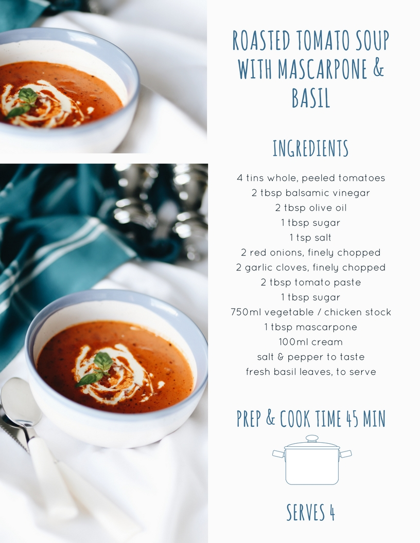 Roasted tomato soup with mascarpone & basil - Launeden